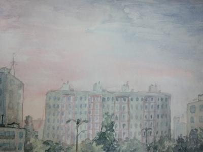 Соколова Вероника, 13 лет, ''Городской пейзаж'', акварель, рук -ль Четвергова С.В.
