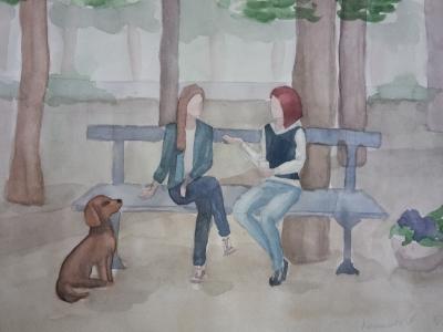 Кошелева Анна, 15 лет, ''Подруги'', бум., акварель, рук - ль Полищук Я.В.