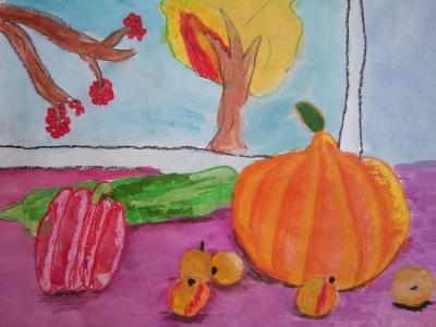 Дудина Кира, 8 лет, ''Натюрморт'', смеш. тех-ка, рук-ль четвергова С.В.