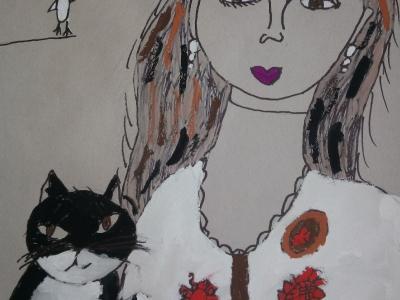 Гулеватая Аделия, 8 лет, ''Портрет с кошкой'', смеш. тех-ка, рук-ль Четвергова С.В.