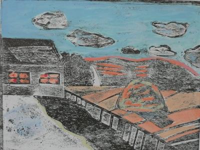 Вихарева Полина, 13л., Пейзаж, гравюра на картоне, гуашь, Хасанов В.Ю.