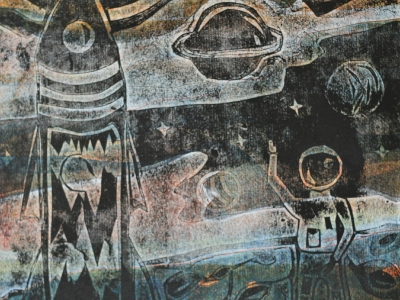 Кулакова Валерия,  12 л., Привет из космоса, цв. гравюра на картоне, Хасанов В.Ю.