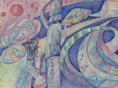 Макарова Варвара, 13 л., Земляне на другой планете, б., цв. карандаши Жохова В.И.