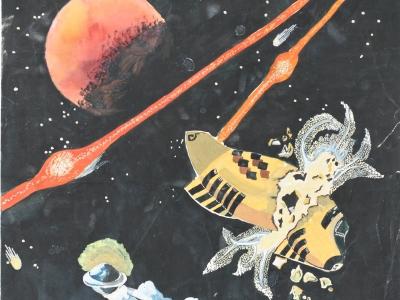 Космос, б., акварель, гуашь