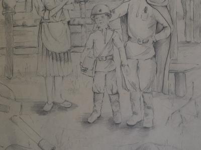 Повзун Людмила, 12 лет, Возвращение домой, б., карандаш