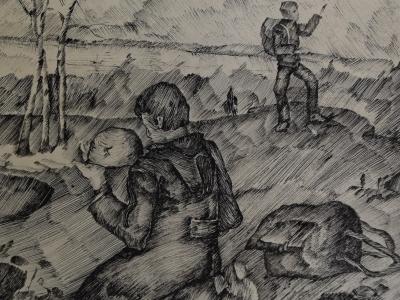 Семенова Екатерина, 12 лет, Отголоски войны, б., шариковая ручка