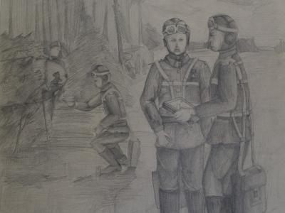 Матросов Иван, 13 лет, Летчики, б., карандаш
