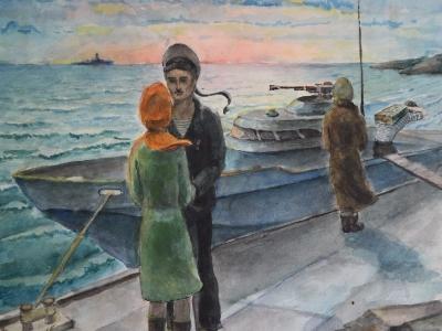 Жидеяев Владимир, 14 лет, Прощание, б., акварель