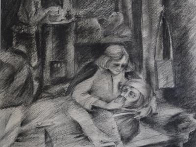 Соснина Лара, 14 лет, В полевом Санбате, монотипия, черный соус